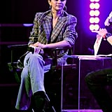 Selena Gomez Wearing a Plaid Blazer and Jeans at the iHeartRadio Album Release Party