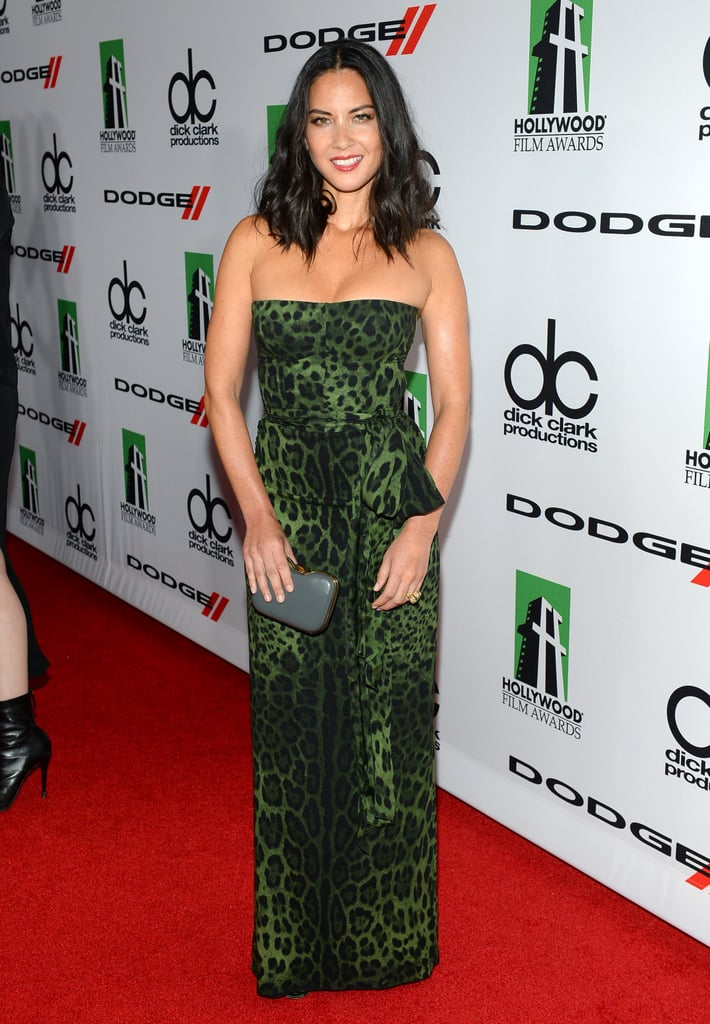 Olivia Munn showed up to the Hollywood Film Awards in a green leopard ensemble.