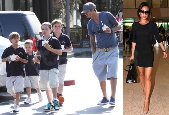 Pictures of Victoria Beckham at the Airport and David Beckham With the Boys in LA