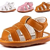 Cindear Squeaky Pu Leather Closed-Toe Sandals