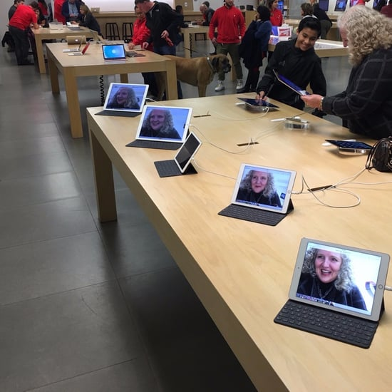 Mom Changes Apple Store Backgrounds to Funny Selfies