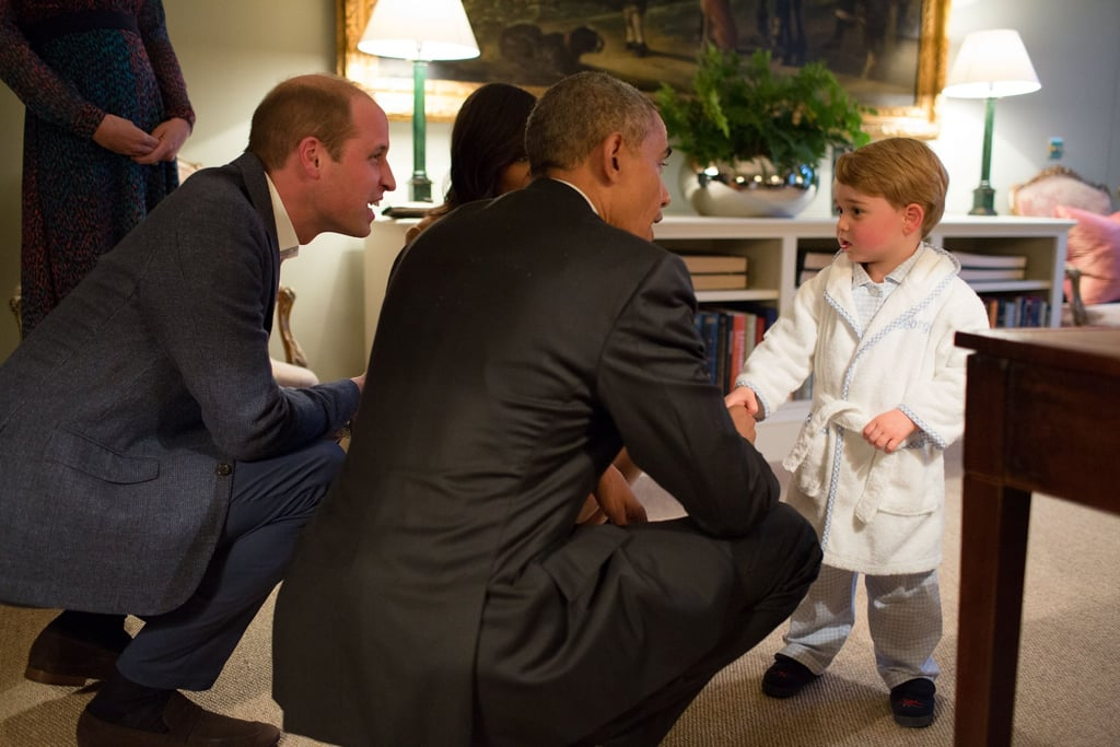 The Obamas' April trip to the UK would not have been complete without meeting Prince George, who greeted the president and first lady in the world's cutest robe.
