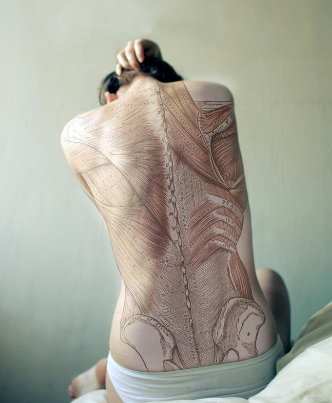 So this isn't a real tattoo, says photographer Diana Eastman, but, rather, a manipulated self portrait. The back image is from Gray's Anatomy (no, not the TV show). We think it's only a matter of time before a devoted med student gets this incredible illustration inked. Do you dare?