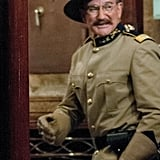 Robin Williams channeled his inner Theodore Roosevelt during the production of Night at the Museum 3 in London on Monday.