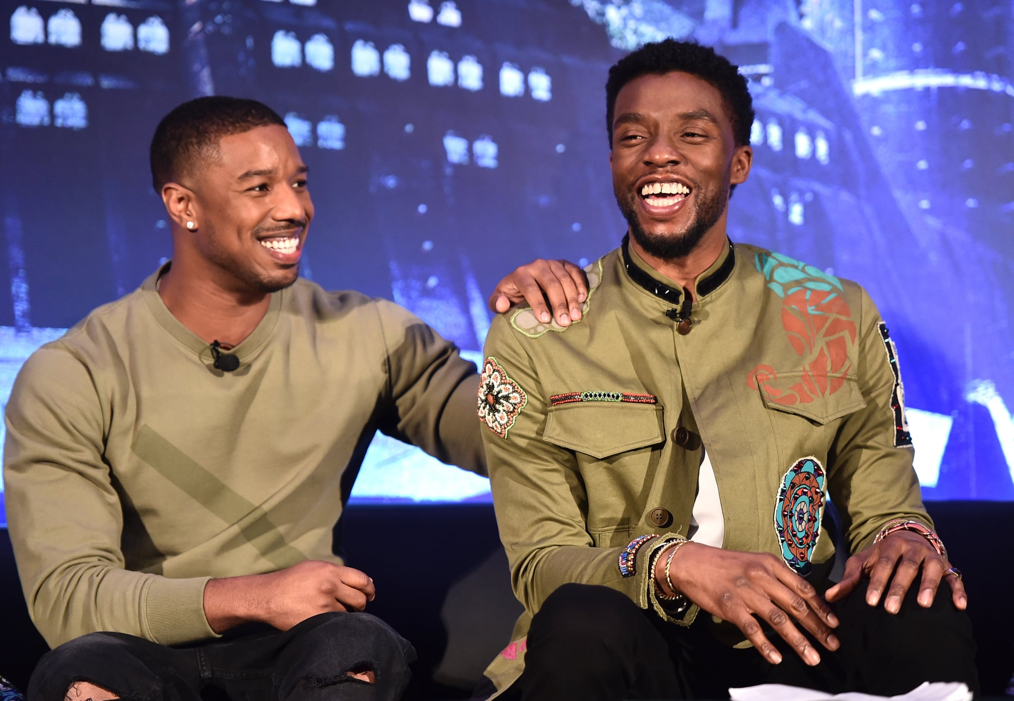 BEVERLY HILLS, CA - JANUARY 30: Actors Michael B. Jordan (L) and Chadwick Boseman attend the Marvel Studios' BLACK PANTHER Global Junket Press Conference on January 30, 2018 at Montage Beverly Hills in Beverly Hills, California.  (Photo by Alberto E. Rodriguez/Getty Images for Disney)