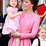 Princess Charlotte's sweet smile matched her mom's at the annual Trooping the Colour ceremony in June.