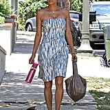 Halle Berry got a little relief from the heat walking through the shade.
