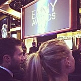 """Darn newlyweds in front of us won't stop making out...#emmys #thevoice #getaroom,"" Carson Daly captioned this picture of Adam Levine and his wife, Behati Prinsloo."