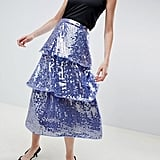 ASOS Design Tiered Sequin Midi Skirt