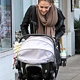 Jessica smiled at baby Haven inside her stroller.