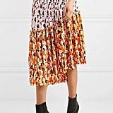 Kenzo Asymmetric Printed Pleated Midi Skirt