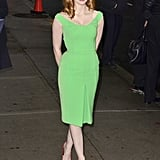 Jessica Chastain took a risk but we love the way her red heels play off her lime-hued sheath.