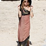 Rachel Zoe wore a sarong and a hat.