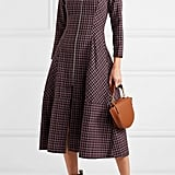 Paper London Lotus Checked Wool Blend Crepe Midi Dress