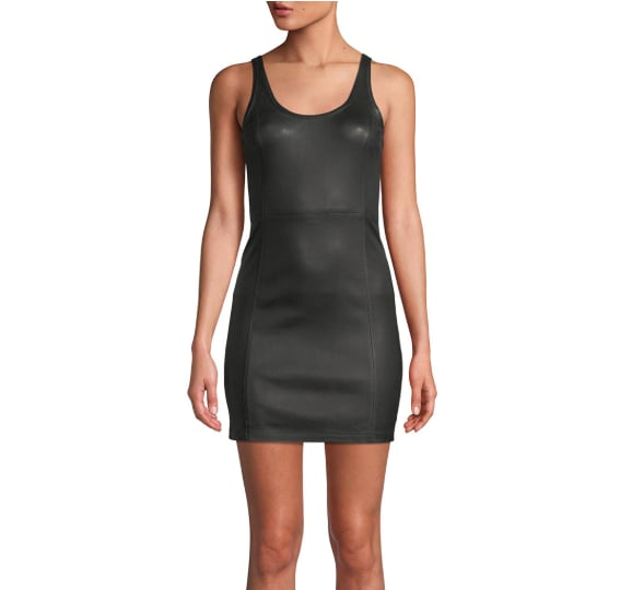 T by Alexander Wang Scoop Neck Leather Mini Dress