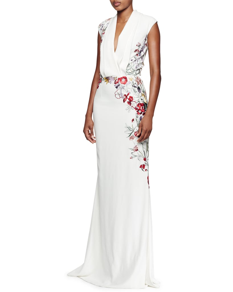 Alexander McQueen Floral-Embroidered Pleated V-Neck Gown ($12,945 ...