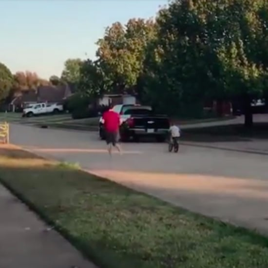 Dad Saves Son From Crashing His Bike Without a Helmet On