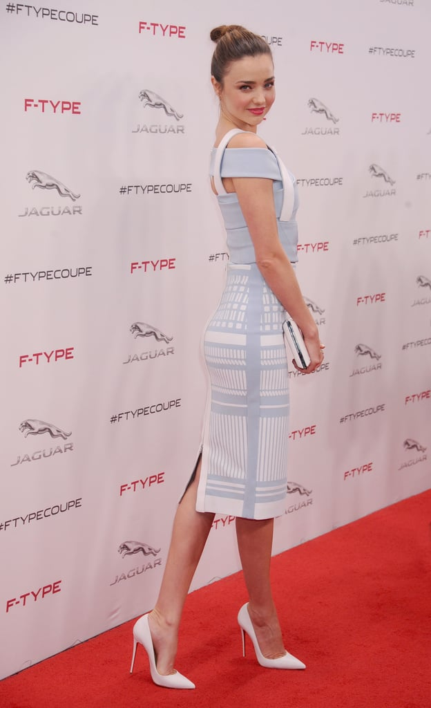 At the Jaguar F-TYPE Coupe revealing, Miranda Kerr's pastel blue David Koma separates and white Smythson envelope clutch may have been out of step with this week's seasonal theme, but hey, it's Summer in Australia!