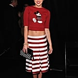 Miley Cyrus showed off her abs in a Mickey Mouse crop top at Thursday's Marc Jacobs show during NYFW.