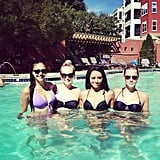 The ladies of Vampire Diaries took a dip in the pool together. Source: Instagram user katgrahampics