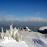 Snow and Ice Formations Surrounded the Lake