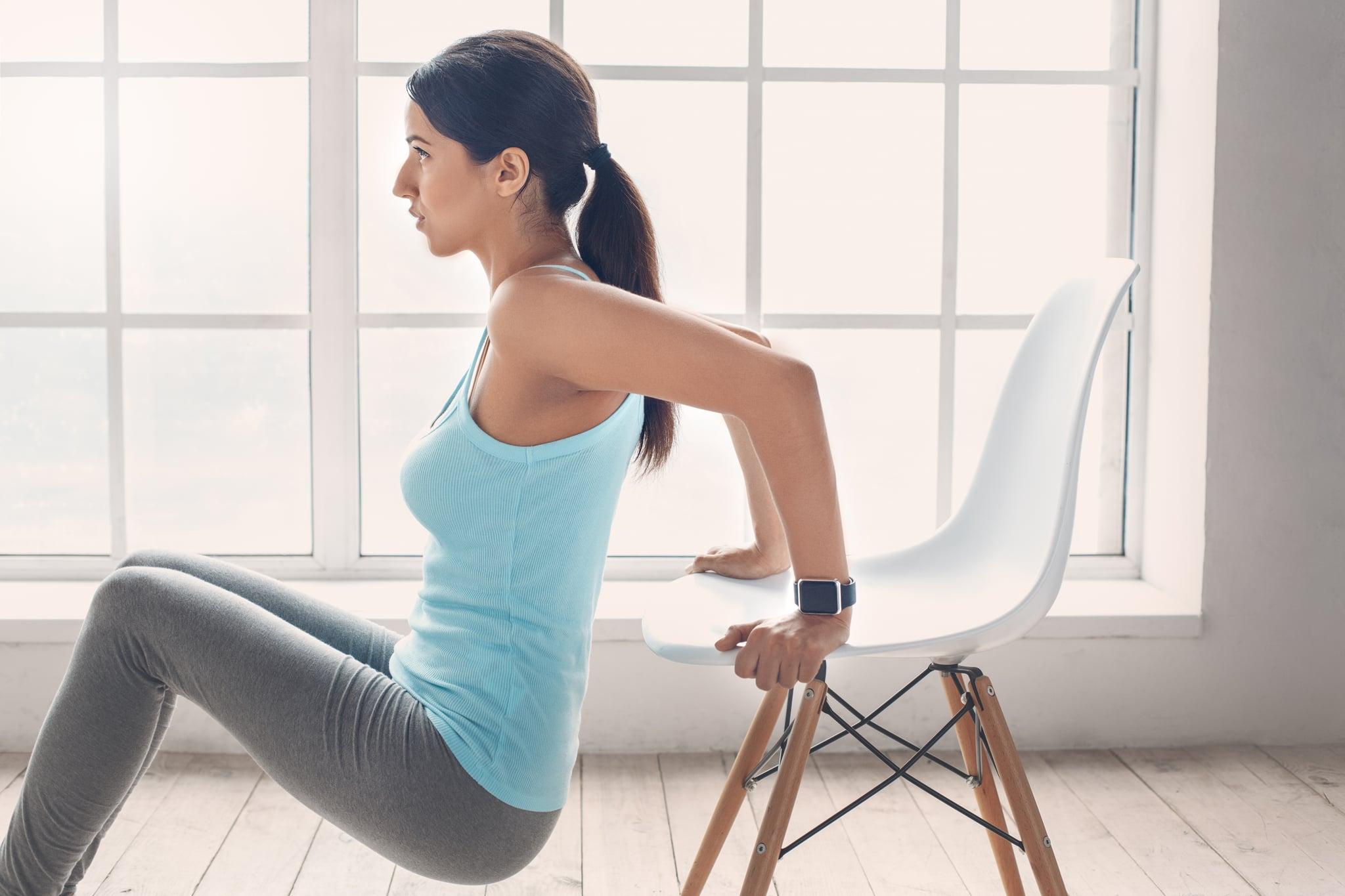 leg exercises using kitchen chair