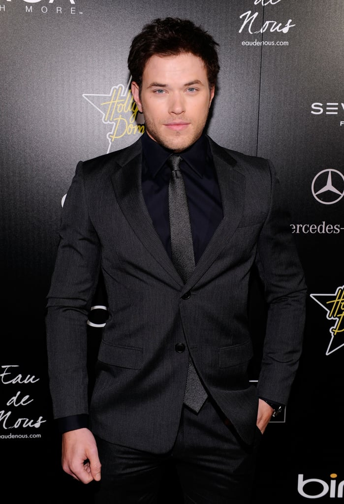 Kellan Lutz looked sharp last night at the Hollywood Domino gala in LA, where he mingled with celebs including Paris Hilton, Dave Annable, and Danneel Harris. He wore a black suit, shirt and grey tie for the occasion, and left his adorable dogs at home. Kellan's Breaking Dawn costar Ashley Greene spent some time with boyfriend Joe Jonas yesterday and has instructed Twilight fans to watch the Oscars, while Robert Pattinson's working hard on the film. Kellan's among the many young actors slated to be in with a chance to star in the Bourne spinoff directed by Tony Gilroy. Click through for more photos including Michelle Trachtenberg, Odette Yustman and more!