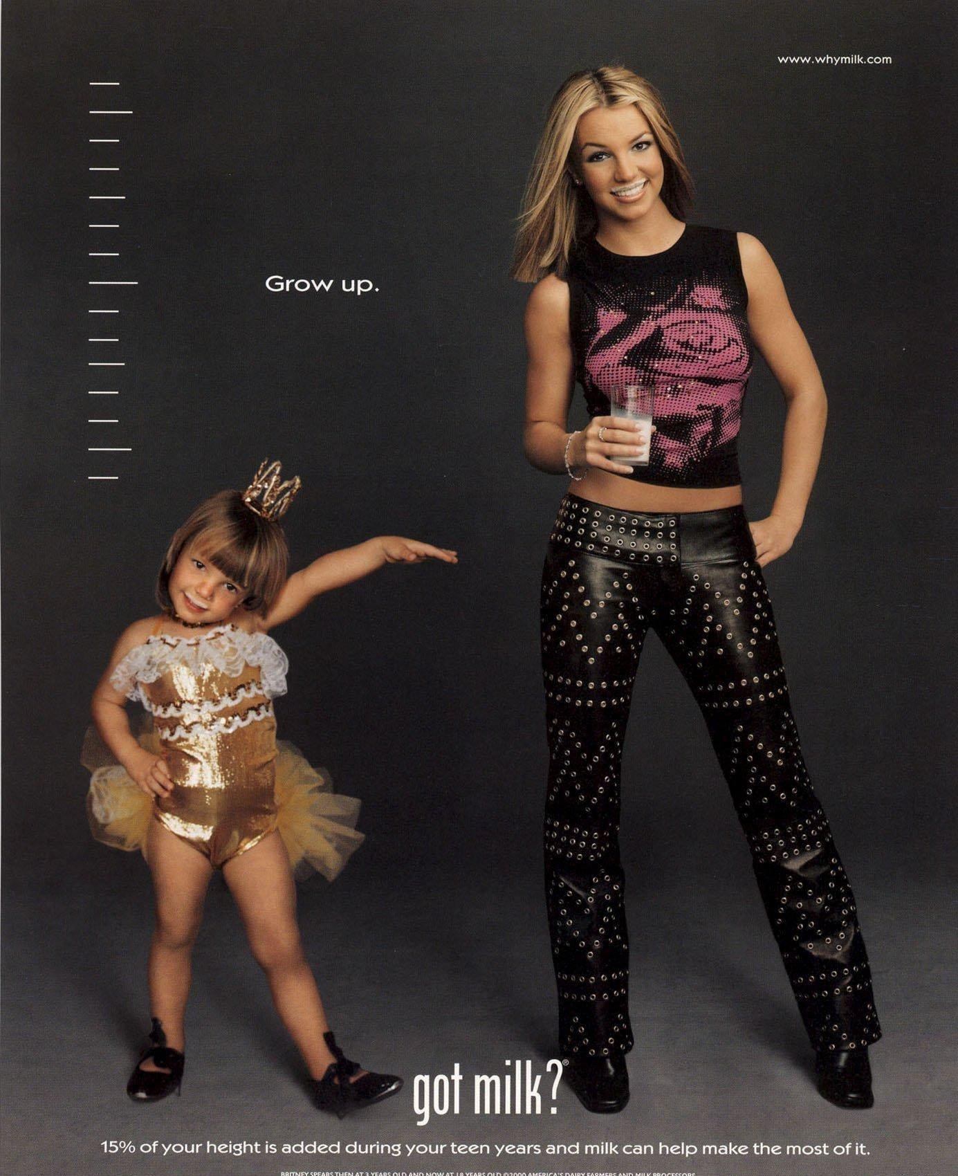 "For a second ""Got Milk?"" ad, Britney Spears posed alongside her childhood self."