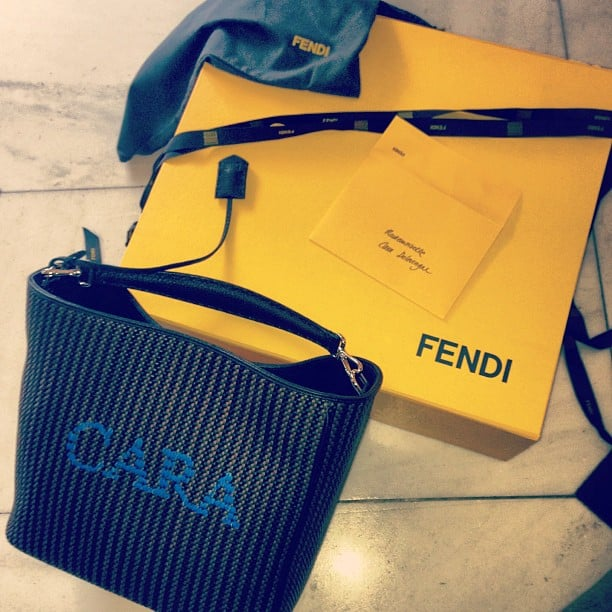 The best perk to modelling for Fendi: custom totes! Source: Instagram user caradelevingne