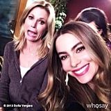 Sofia Vergara and Julie Bowen palled around on the set of Modern Family. Source: Sofia Vergara on WhoSay