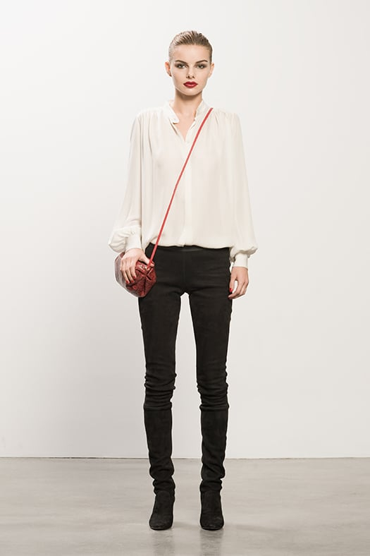 Georgette Cream Long Sleeve Blouse, Sweet Revenge Black Suede Legging Boot, Sunset Watersnake Red Cross Body Bag. Photo courtesy of Tamara Mellon