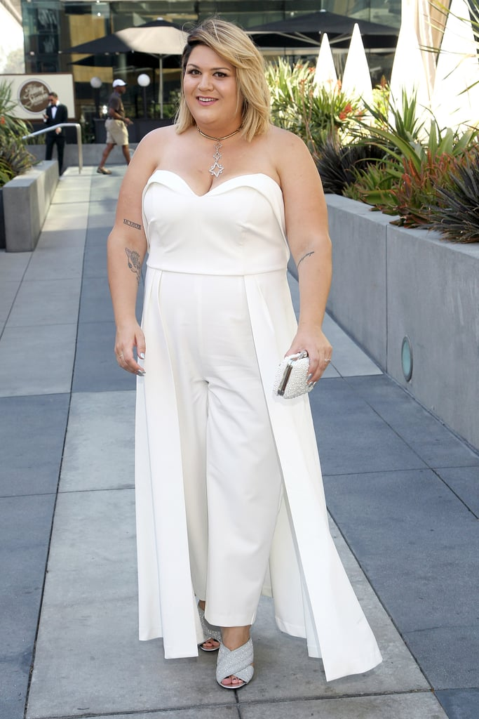 Nicolette Mason's strapless jumpsuit has Summer cocktail party written all over it.
