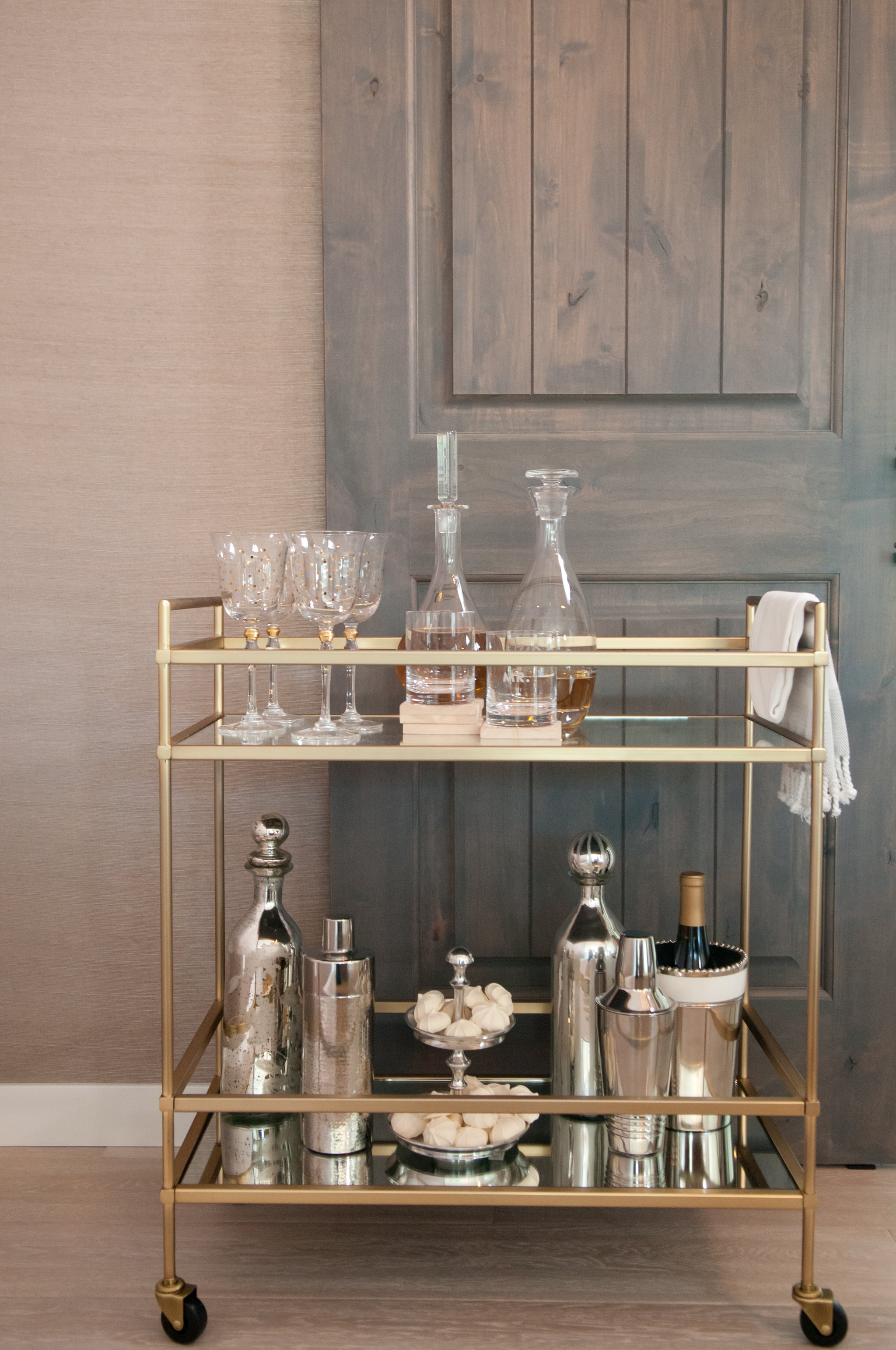 A Chic Bar Cart Like This One Full Of Glam Mixed Metallics Is A These Famous Newlyweds Know