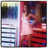 Alessandra Ambrosio modeled a sexy minidress at a Victoria's Secret store in NYC. Source: Instagram user allisonmcnamara