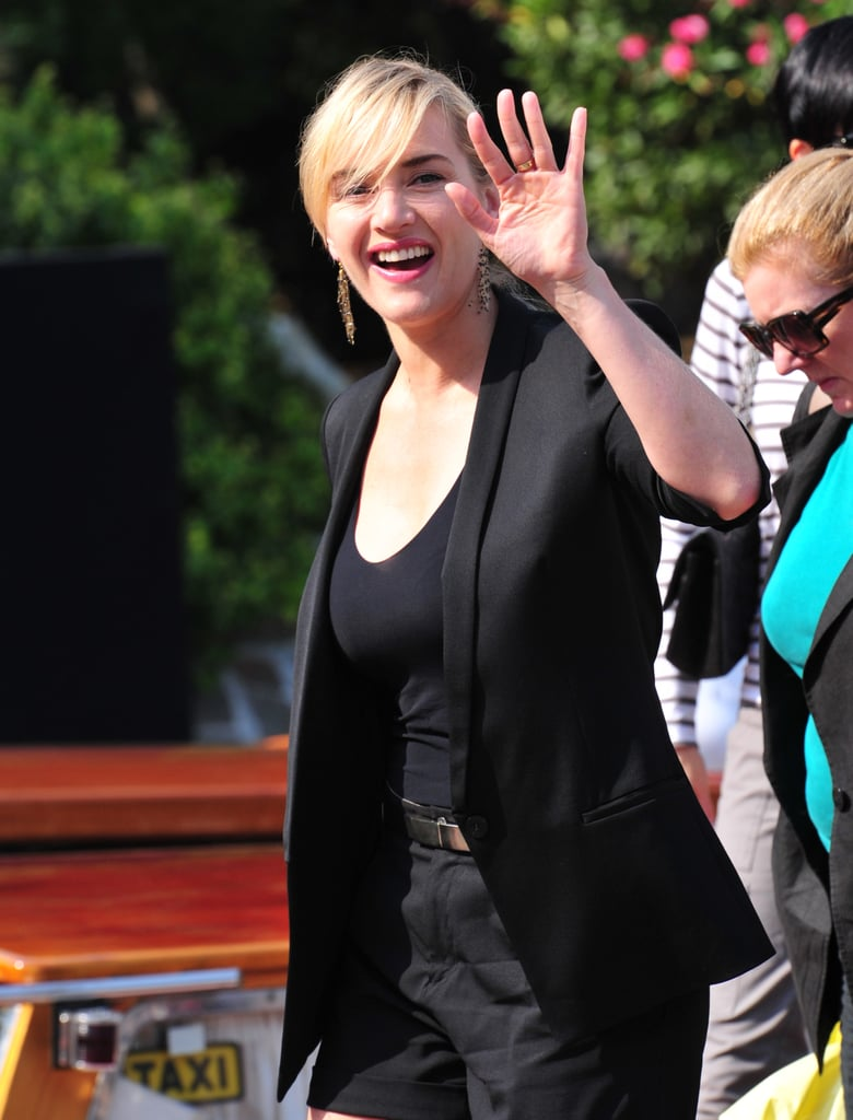 Kate Winslet arrives at the Mildred Pierce photocall.