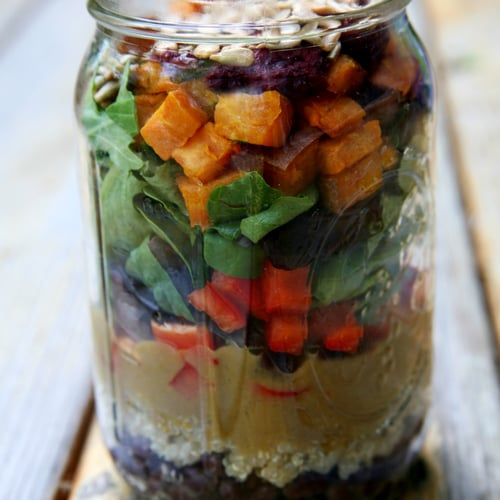 Roasted Sweet Potato and Quinoa Salad With Mango Balsamic Vinaigrette