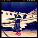Usher posed in front of a private jet. Source: Instagram user howuseeit