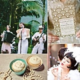 Weddings Through the Decades: Roaring '20s Inspiration In the midst of post-World War I prosperity, the Roaring '20s were all about new technologies, jazz music, speakeasies, and a flippant attitude. For fashion, this meant simple elegance: feathers, pearls, boas, flapper dresses, bucket hats, and brooches. Weddings were much more informal than in earlier eras — gone were the corsets, tossed aside in favor of drop-waist dresses that showed a bit of leg. Brides danced everything from the Foxtrot to the Charleston, and most preferred platinum or white gold wedding rings over traditional yellow gold. Hoping to channel a bit of Jazz Age pizzazz on your big day? Here are 31 gorgeous photos to help you carry 1920s charm into your wedding celebration.