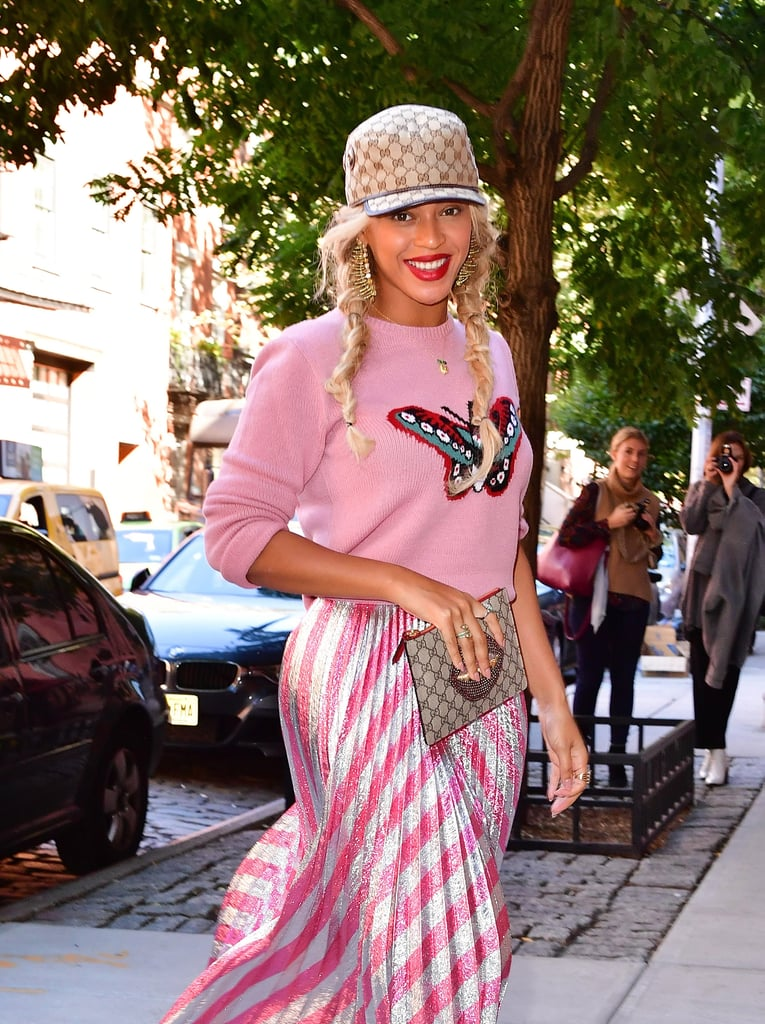 Beyoncé, our human angel, was practically floating as she strolled down the streets of Manhattan on Wednesday afternoon. The singer, who will be wrapping up her Formation world tour at MetLife Stadium in New Jersey on Friday, looked like a candy-coated dream in a pink and silver striped skirt complete with a matching butterfly sweater and Gucci hat. Beyoncé's casual outing comes a month after she attended Budweiser's Made in America Festival in Philadelphia with husband Jay Z, and although she's been keeping a low profile, she did celebrate her 35th birthday with a star-studded Soul Train-themed bash in September.        Related:                                                                This College Course on Beyoncé's Lemonade Has Us Thirsty For Knowledge                                                                   30 Beyoncé Dance Moves That Will Make Your Soul Shiver                                                                   20 Beyoncé Facts Only a Real Beyhive Member Would Know