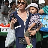 Selma Blair and her son, Arthur Bleick, went to a farmers market in LA.