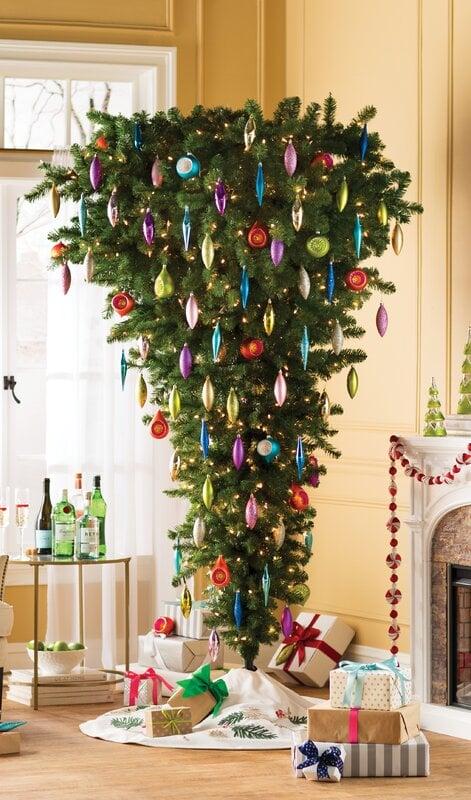 Upside Down Green Cypress Artificial Christmas Tree