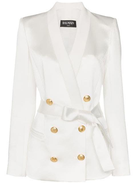 Balmain Gold-tone Button Belted Blazer