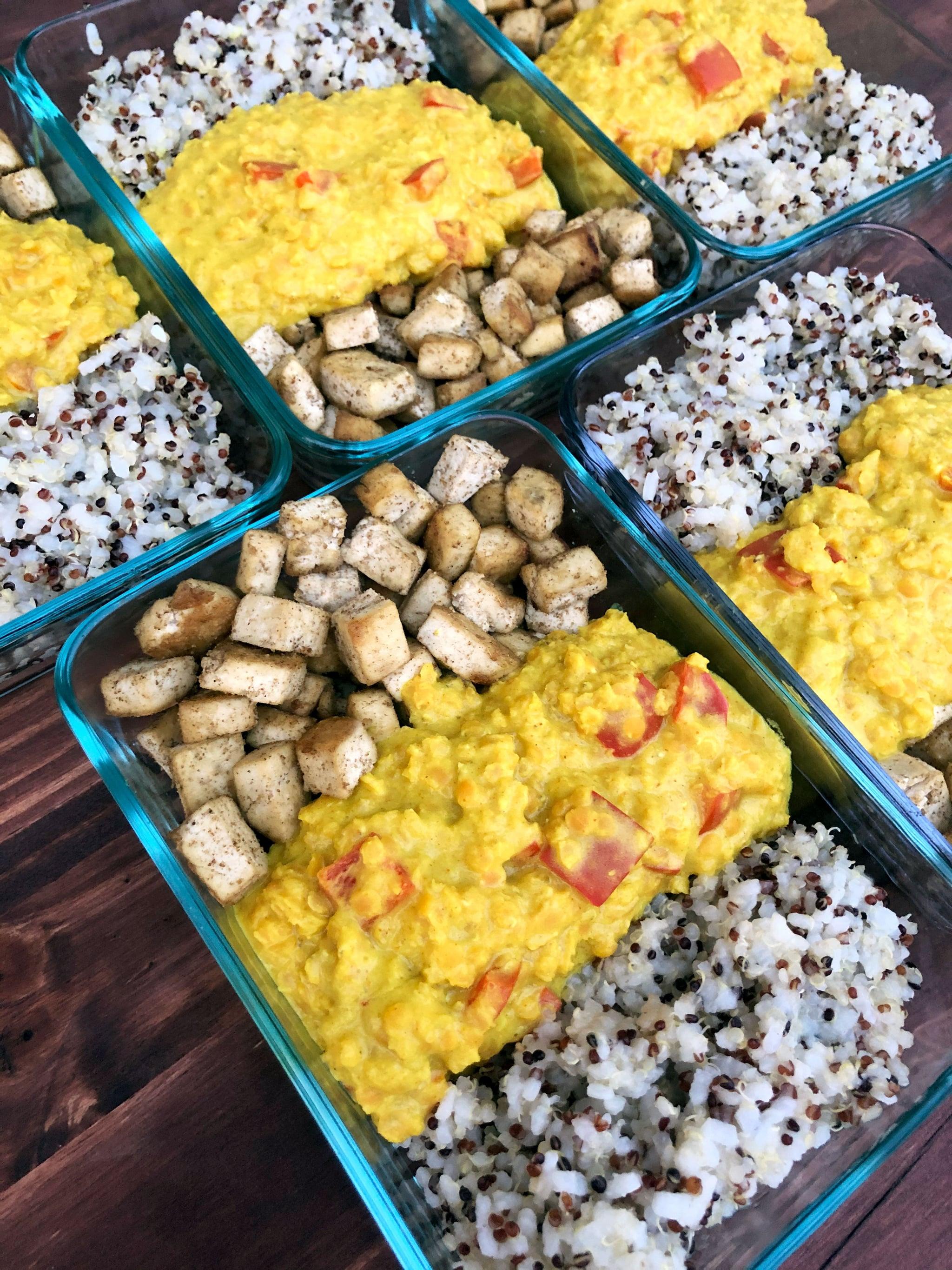 Vegan Curried Coconut Lentils Tofu And Quinoa Meal Prep Popsugar Fitness Australia