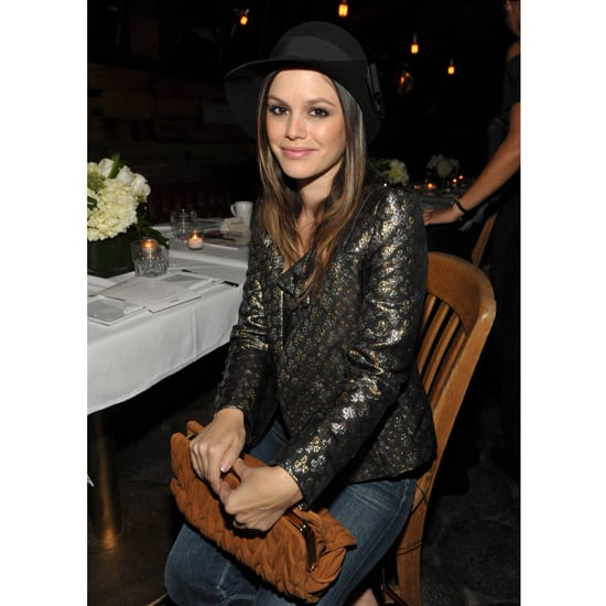 """Rachel Bilson opted for a metallic and black brocade jacket at a Nylon  event in November 2011.  Shop the look: <iframe src=""""http://widget.shopstyle.com/widget?pid=uid5121-1693761-41&look=4300525&width=3&height=3&layouttype=0&border=0&footer=0"""" frameborder=""""0"""" height=""""244"""" scrolling=""""no"""" width=""""286""""></iframe>"""