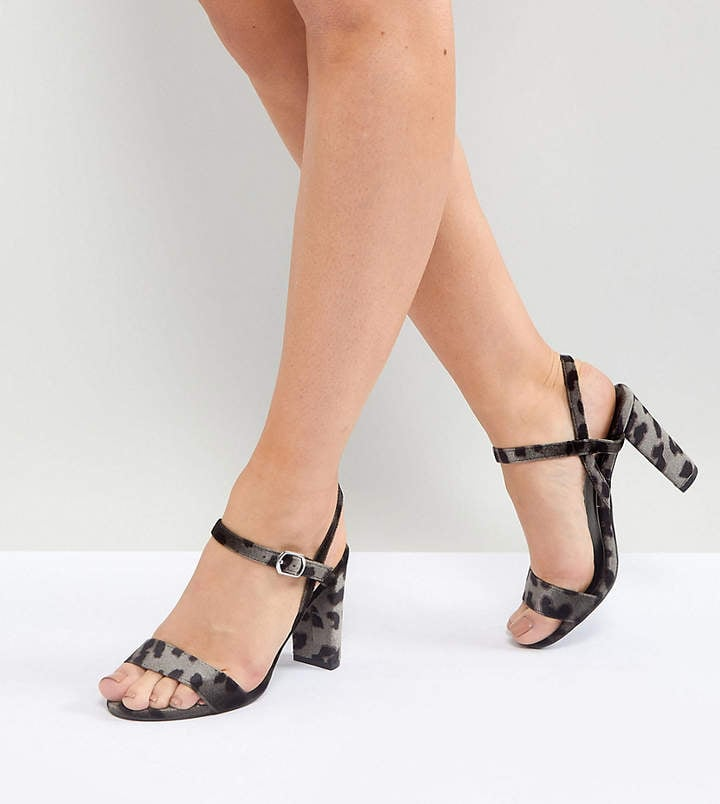 358a8a9b8a6 New Look Wide Fit Velvet Dark Leopard Print Block Heel Sandals ...