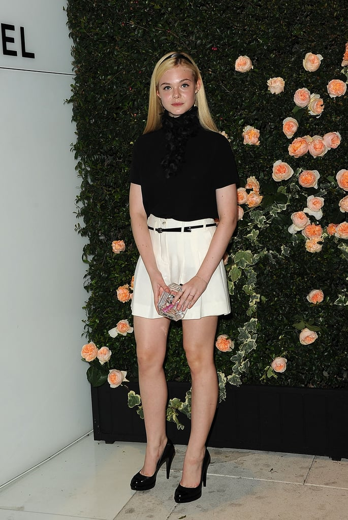 Elle Fanning struck a pose at the Chanel party.