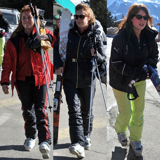 Pictures of Sarah Ferguson, Princess Beatrice, and Princess Eugenie Skiing in Switzerland