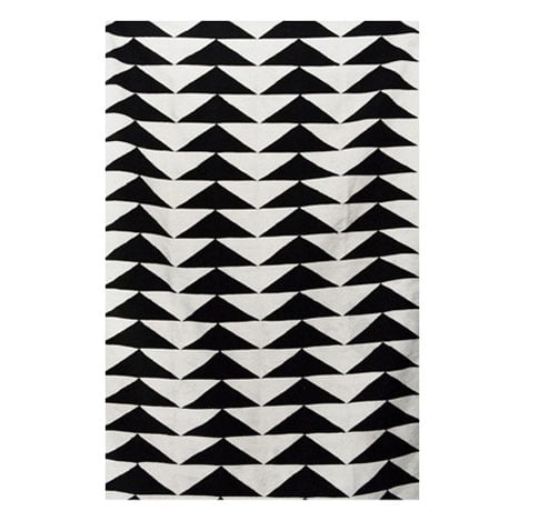 Black and White Handprinted Rug, $385