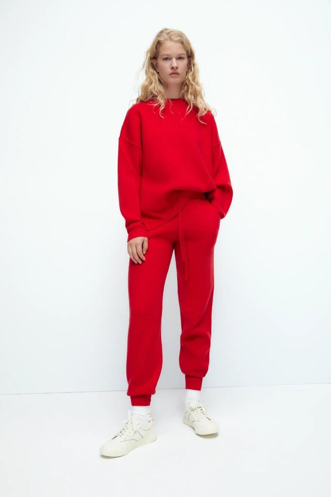 Head-to-Toe Red: Zara Knit Jogging Pants