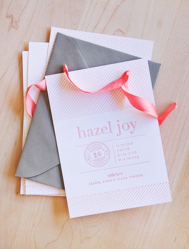 Pink and Gray Letterpress Birth Announcement